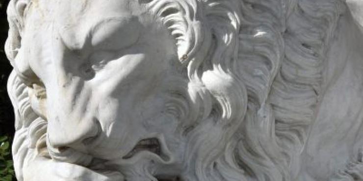 Paar 19de eeuwse Canova- leeuwen
