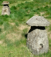 A pair of sandstone staddle stones