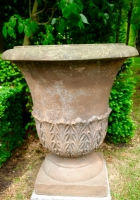 Pair red sandstone urns
