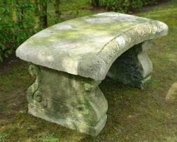 19th Century Carved Stone Garden Bench Seat