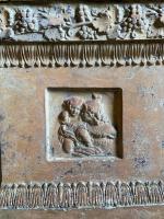 Paar terracotta piëdestals/ planters