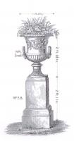 A pair of Handyside cast iron garden urns on plinth