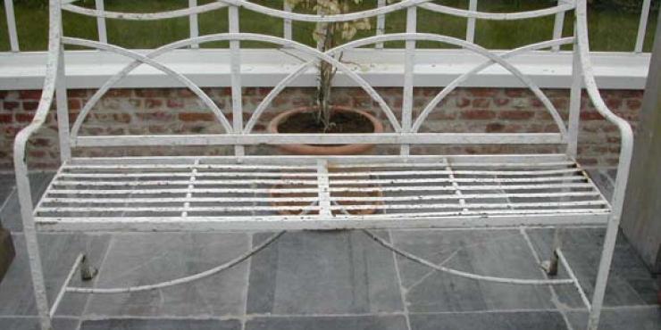Regency wrought iron garden seat, circa 1820