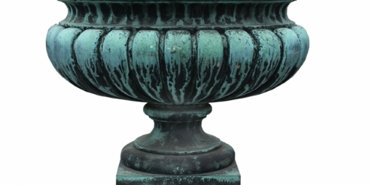 19th century French bronze garden urn