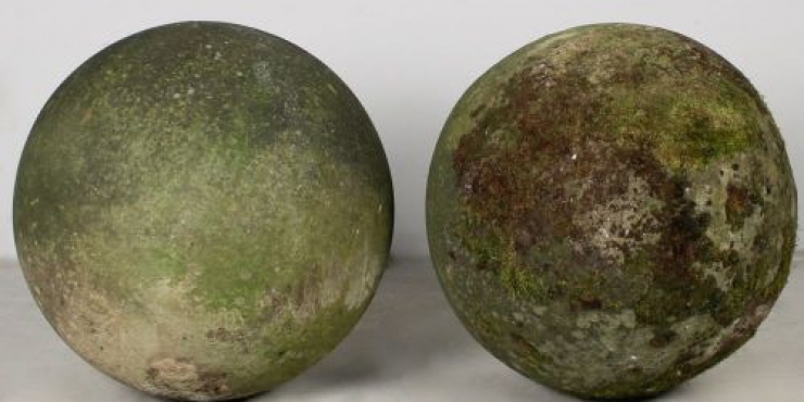 19th century carved stone ball finials