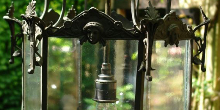 A bronze outdoor lantern