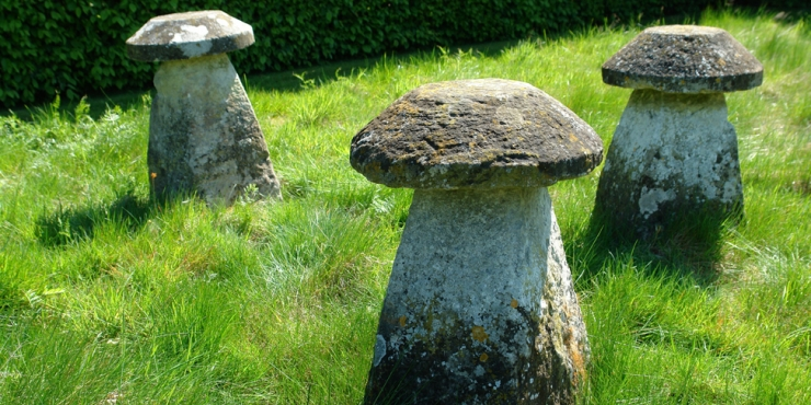3  18th century limestone staddle stones