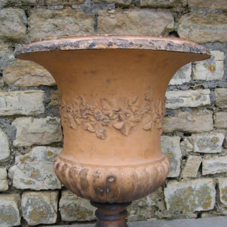 A 19th century English terracotta garden urn
