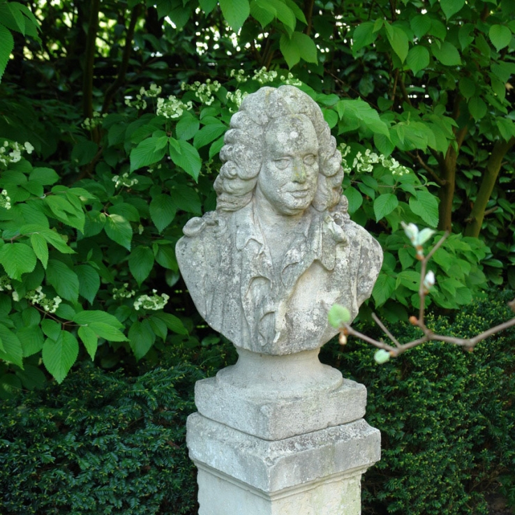 19th century stone carved bust of Jean Baptiste Rousseau