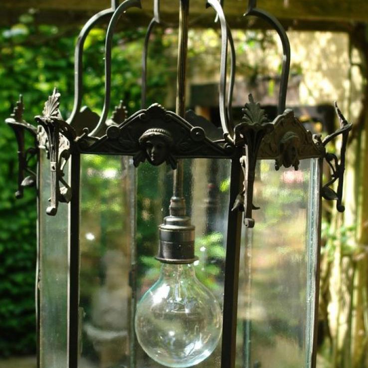 A bronze outdoor lantern