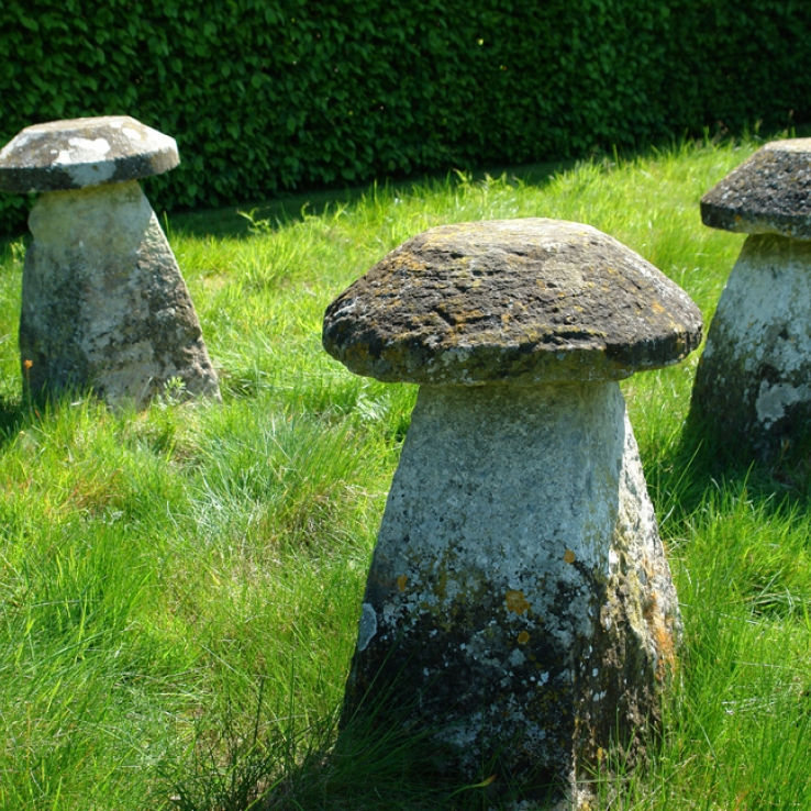 3  18th century limestone staddle stones