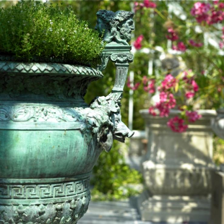 Antique French bronze garden vase, 19th century